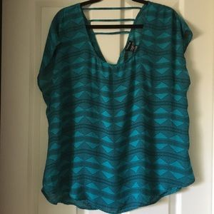 TORRID teal blouse with black accents